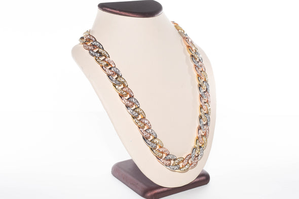 14K Tri-Gold Miami Cuban Link Prong Set Necklace