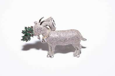 Iced Out GOAT with Cannabis leaf