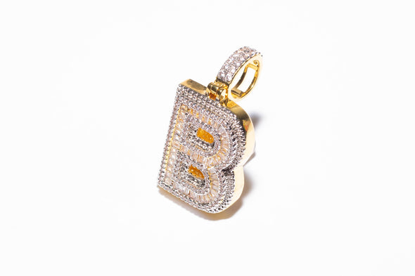 "Iced Out Baguettes Initial Letter ""B"""