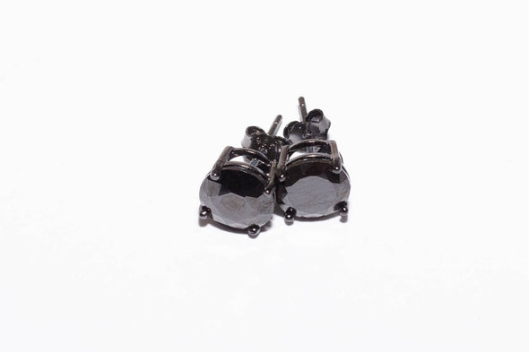 Solitaire Round Shaped Black Studs .925