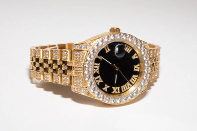 14K Gold Iced Out Luxury Baron Watch