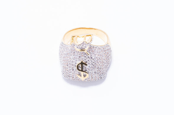 3D Money Bag Iced-Out Men's Ring