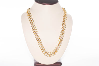 14K Flooded Exclusive Prong Set Miami Cuban Necklace