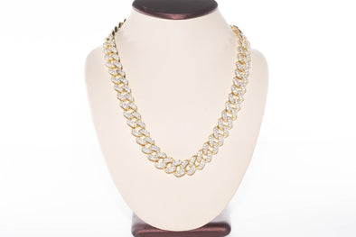 14K Flooded Baguette Prong Set Necklace