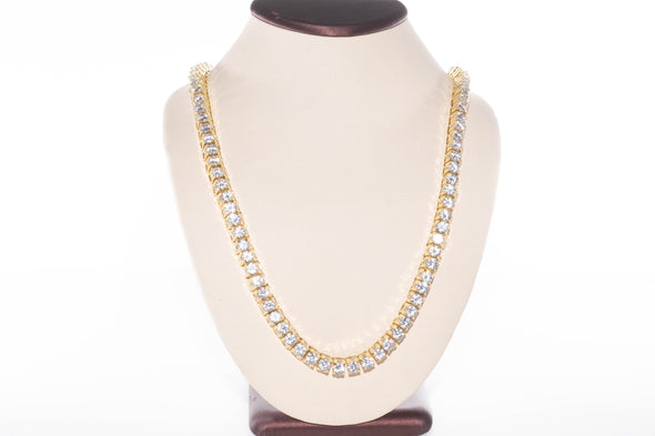 14K 6mm Iced Out Flooded TENNIS Necklace