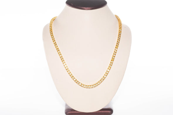 14K 4mm Iced Out Flooded TENNIS Necklace