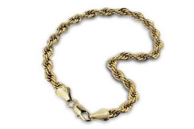 14K Plated Rope Bracelet Premium Quality (3mm)