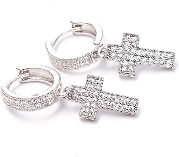 14K White Gold Coated Cross Drop Dangle Huggie Hoop Earrings  With Lab Dimonds