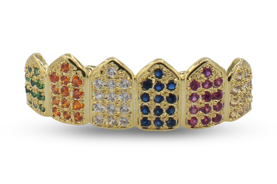 Six Colored Premium 14K Gold Grillz