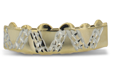 14K Designer Diamond Cut Grillz