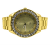 14K Gold Luxury Men's Watch with Diamond Bezel