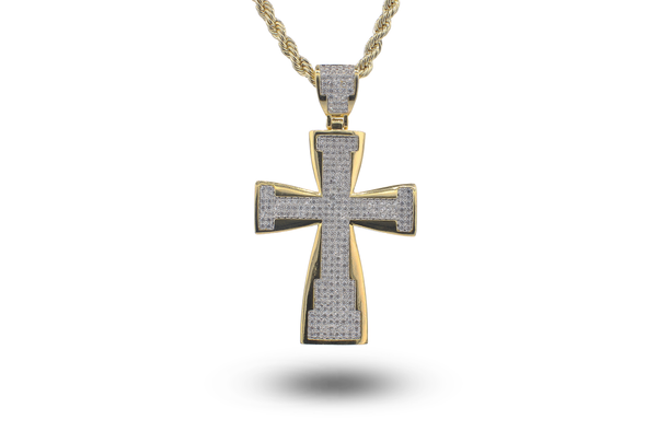 Gold Iced Out Cross Pendant