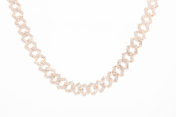 Iced Out Prong Set Rose Gold Diamond Necklace | Best Chocker Necklace