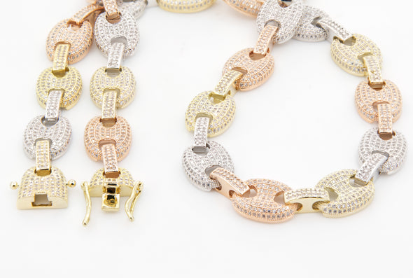 Iced Out  Diamond Linked Necklace | Trio Color Chain