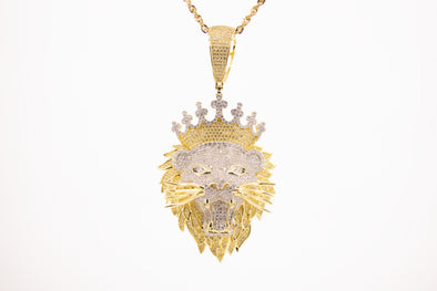 14K Iced Out LION pendent | Lion with Crown
