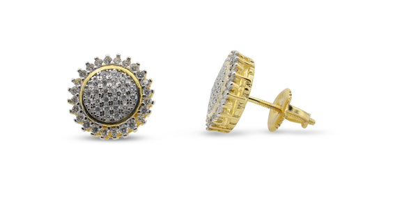 Sunflower Exotic Round Pave .925 Earrings