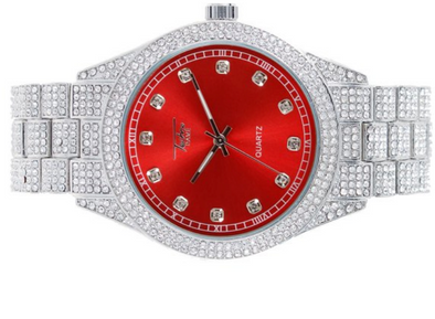 14K Diamond Chrono Watch | Iced out Red Dial White Gold Watch
