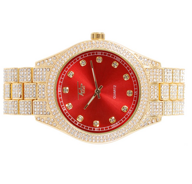 14K Diamond Chrono Watch | Iced out Red Dial Yellow Gold Watch