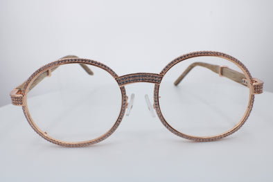 ROUND FRAME DIAMOND GLASSES | Rose Gold