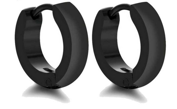Black Plated Stainless Steel Hoop Earrings
