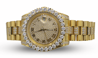 14K Premium Diamond Watch | Yellow Gold