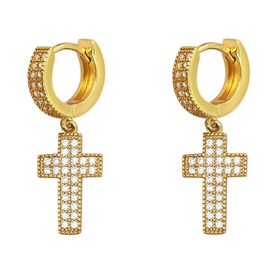 14K Yellow Gold Coated Cross Drop Dangle Huggie Hoop Earrings  With Lab Dimonds