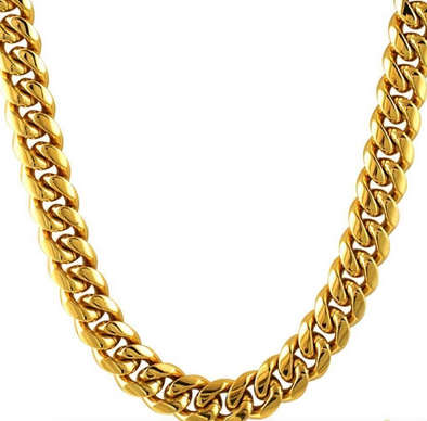 Solid Cuban Link Chain | 14K Gold Coated Cuban Link Chain