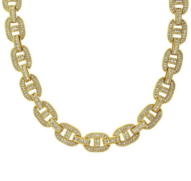 Premium Baguette Iced Out Link Chain  | Yellow Gold