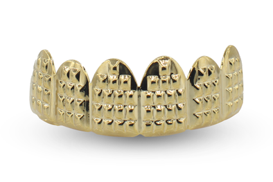 14K Spike Design Gold Grillz
