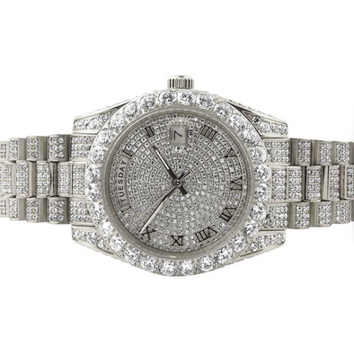 14K Gold Iced Out Luxury Baron Watch | White Gold