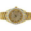14K Gold Iced Out Luxury Baron Watch | Yellow Gold