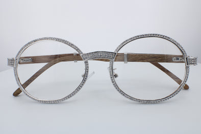 ROUND FRAME DIAMOND GLASSES | White Gold