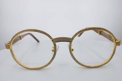 ROUND FRAME DIAMOND GLASSES | Yellow Gold