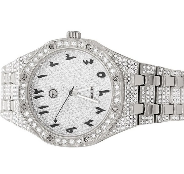 Arabic Numeral Watch | 14K White Gold Watch