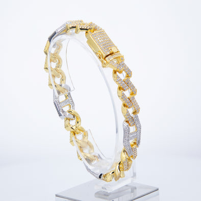 Two-Tone Iced out Miami-Gucci Bracelet (10mm)