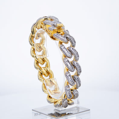 Iced Out Baguettes Miami-Cuban Link Bracelet(12mm)