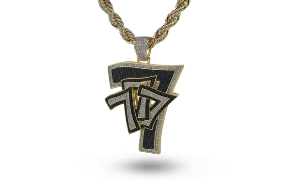 14K Number Seven Iced out Pendent