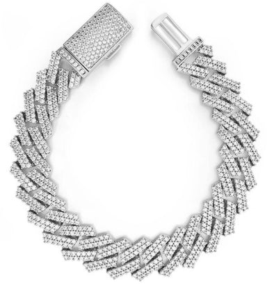 14K Miami Cuban Diamond Bracelet | White Gold