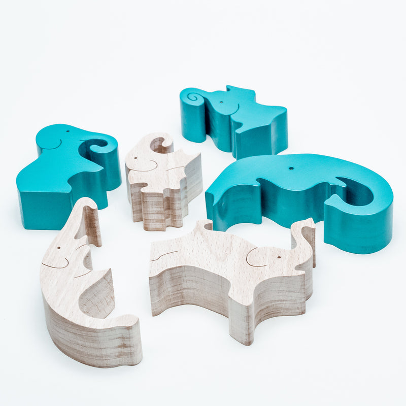Blue Elephant Standing Puzzle