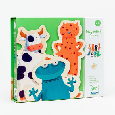 Crazy Animals Wooden Magnet Set
