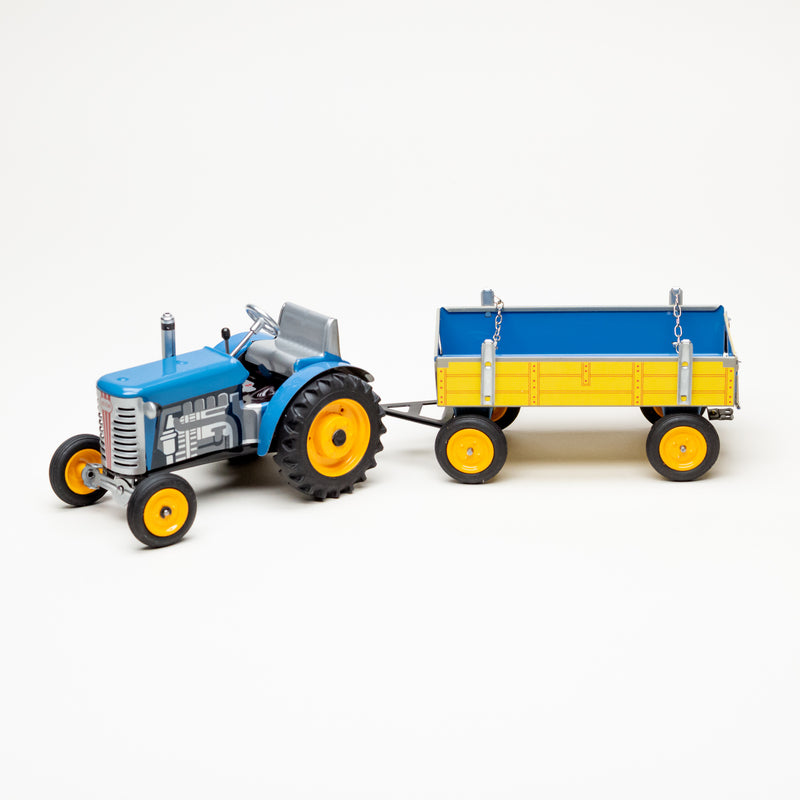 Zetor Wind-Up Tin Tractor With Trailer (Assorted Colors)