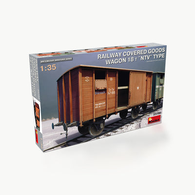 Railway Covered Goods Wagon 18T NTV Type WWII Model Assembly Kit
