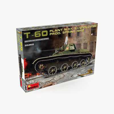 T-60 Plant N.37 Sverdlovsk Prod. Spring 1942 Tank W/Interior WWII Model Assembly Kit