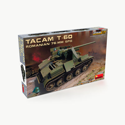 Tacam T-60 Romanian 76-MM SPG Tank W/Interior WWII Model Assembly Kit