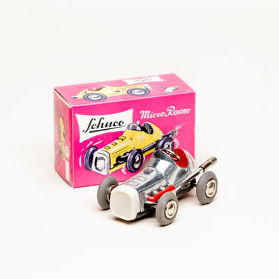 Vintage Diecast Midget #1041 Wind-Up Micro Racer (Polished Silver)