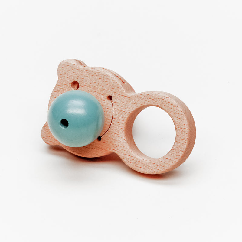 Red & Blue Nose Bear Wooden Baby Rattle