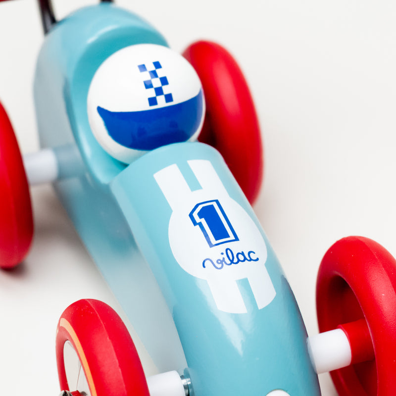 Pull Along Racing Car (Turquoise & Red)