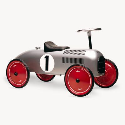 Vintage Ride-On Metal Car (Grey)