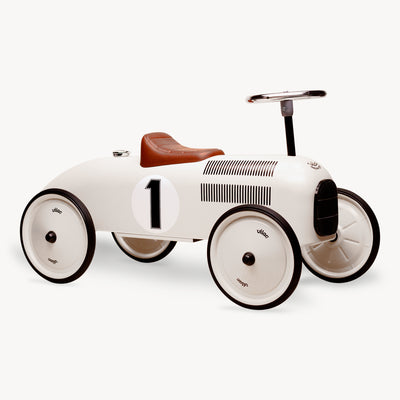 Vintage Ride-On Metal Car (White)