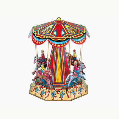 Nostalgic Horse Carousel Boat Swing Model Steam Engine Accessory